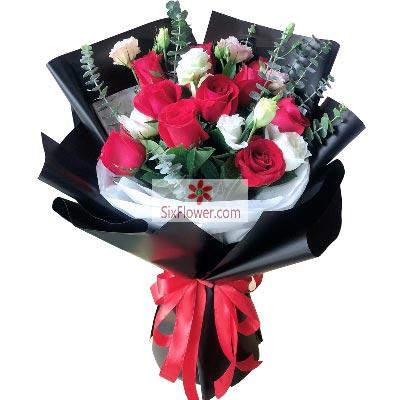 大兴幸福花屋9朵红玫瑰,9朵桔梗,简单幸福的爱情