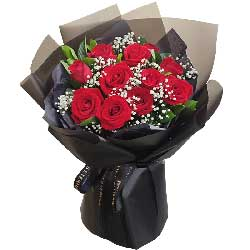 11朵红玫瑰满天星,爱你的心潮