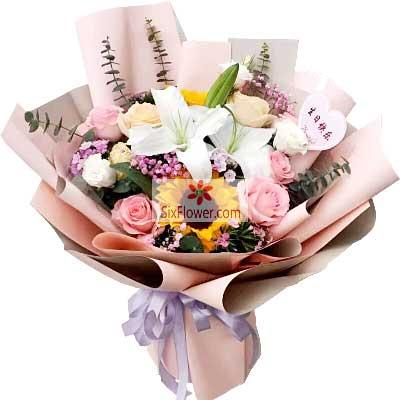 杭州秀萍花坊12朵玫瑰百合,幸福的开端