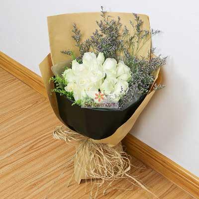 19朵白玫瑰,爱的航向南京花卉
