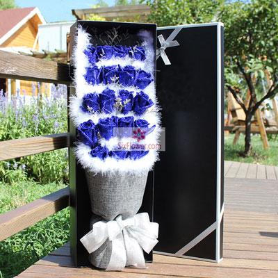 大连香朵花艺19朵蓝玫瑰,礼盒装,有你人生如意