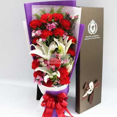 南京花卉16朵红色康乃馨,2支白色多头百合,您是我永远的牵挂
