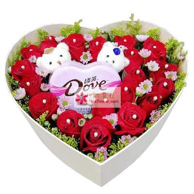 19朵红玫瑰巧克力礼盒,我爱你一生一世胶南情之源