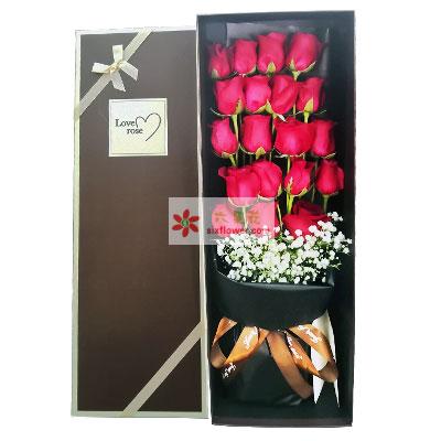 19朵蓝色玫瑰,礼盒装,与你天天都是恋人节惠州千里缘花艺