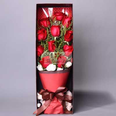 11朵红玫瑰,礼盒装,快乐心情情缘鲜花速递
