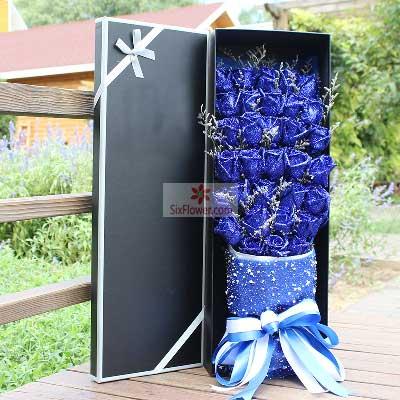 杭州月光花坊32朵蓝玫瑰,礼盒装,快乐情侣
