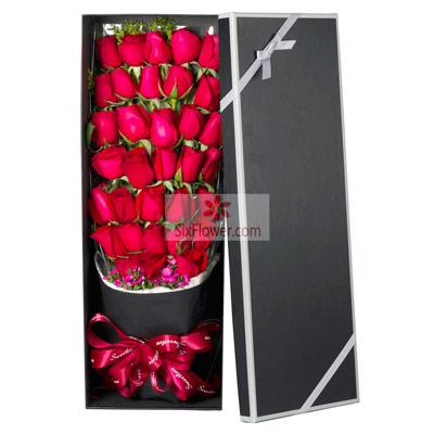 杭州温馨花坊33朵红玫瑰,真爱永远