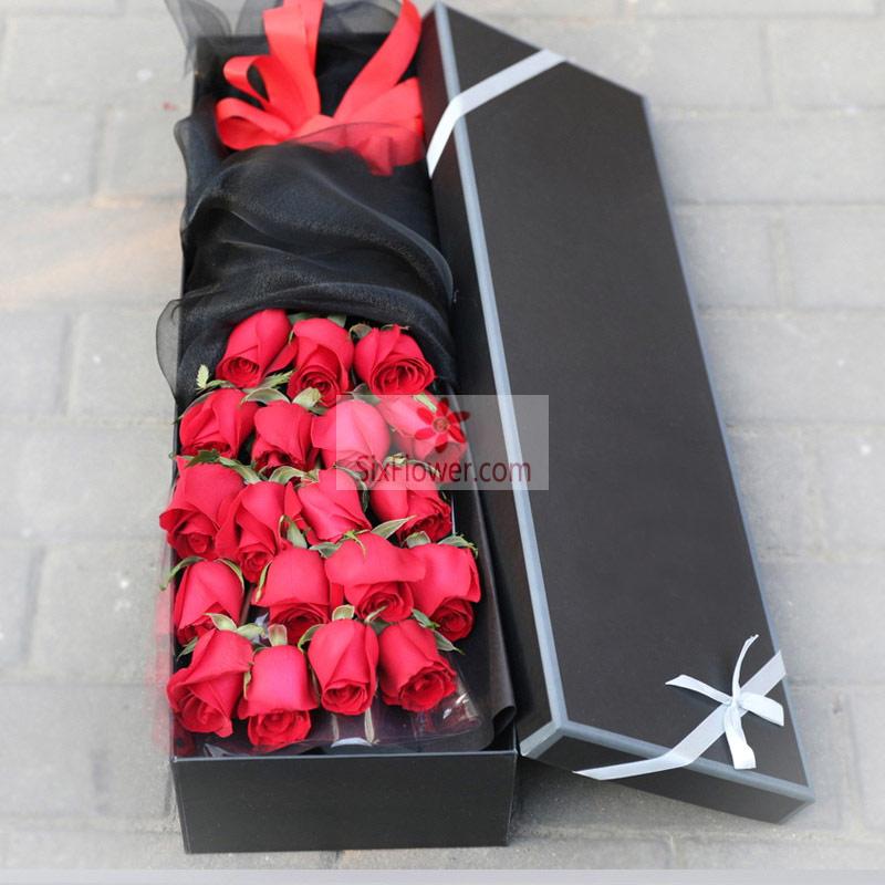 深圳花荣业茂花艺馆19朵红玫瑰,礼盒装,爱你一生不后悔