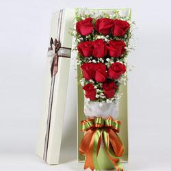 紫银花坊11朵红玫瑰,礼盒装,想你了,亲爱的