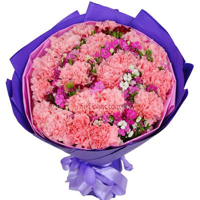 上海绿萝花艺22朵粉色康乃馨,祝您快乐永远