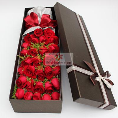 雨梦花艺34朵红玫瑰,礼盒装,你是我的温柔陷阱