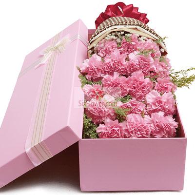 杭州秀萍花坊18朵粉色康乃馨,礼盒装,深深的爱