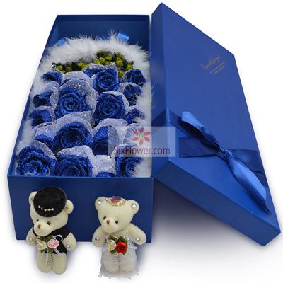 19朵蓝色妖姬,礼盒装,爱的肩膊桐庐花蜜鲜花