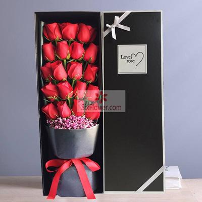 增城良缘花坊19朵红玫瑰,相约一生一世