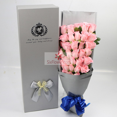 北京密云海澜娇鲜花坊33朵戴安娜粉玫瑰,爱情的味道