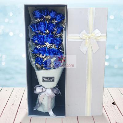 19朵蓝色妖姬,礼盒装,你是我的灯塔深圳花满楼龙华龙岗店