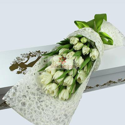 花蜜花艺鲜花店19朵白色郁金香,礼盒装,爱情生活甜蜜