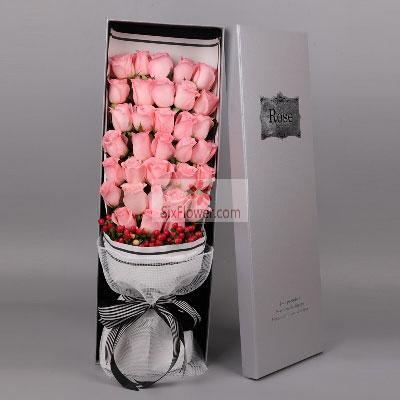 33朵戴安娜粉玫瑰,相爱幸福到永远蓟州花时间