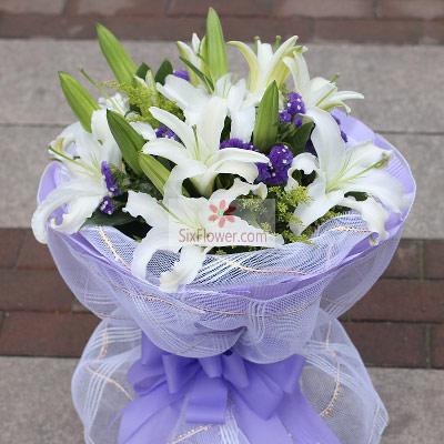 温州168鲜花8支白色多头百合,你永远在我心里