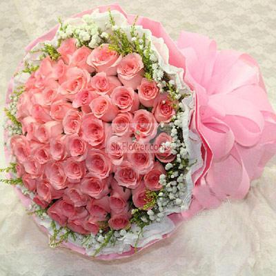 上海兰兰花店55朵戴安娜粉玫瑰,拥有你就拥有全部