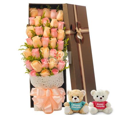 天津百合鲜花店33朵玫瑰,追求你不松懈