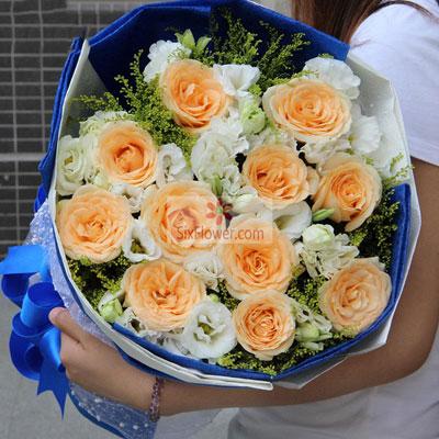 婷婷鲜花店11朵香槟玫瑰,16朵桔梗,甜蜜的爱