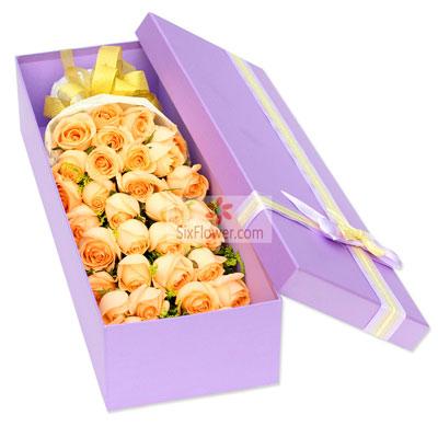 33朵香槟玫瑰,礼盒装,你我的爱情真谛深圳花荣业茂花艺馆