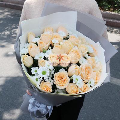 26朵香槟玫瑰,永不分开奇葩鲜花
