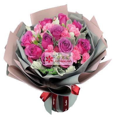 花艺之恋花店32朵粉色康乃馨,一生平安,健康长随