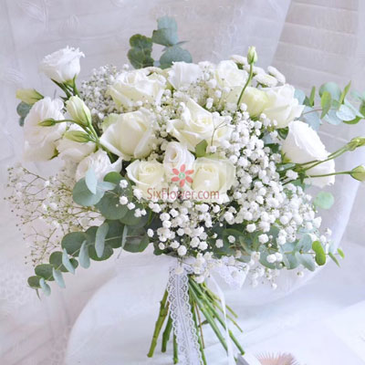广州1号花店17朵白玫瑰,我爱你想你思念你