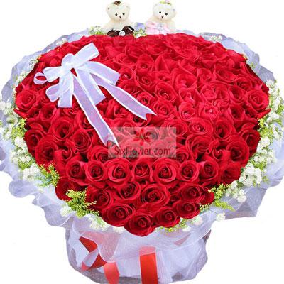 心芳园花坊99朵红玫瑰,爱你甜在心间