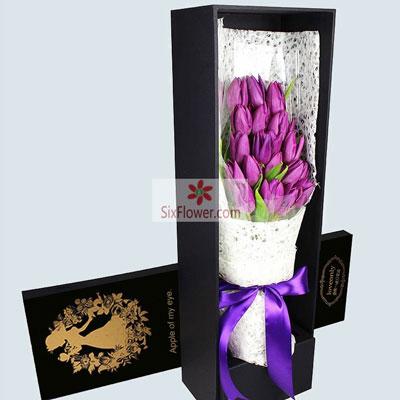19朵紫色郁金香,美妙的每一刻南京美嘉花卉