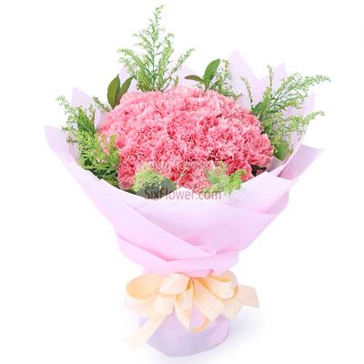 江南花卉婚庆19朵粉色康乃馨,福气多多