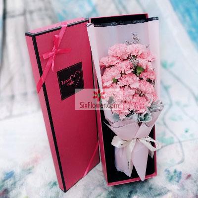 16朵粉色康乃馨,礼盒装,千言万语梦幻花坊