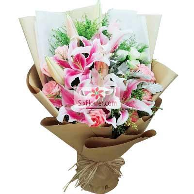 丁字沽鲜花店11朵粉玫瑰,3支粉色多头百合,感谢有你的陪伴