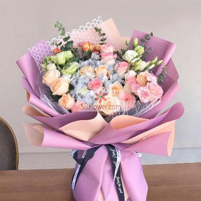 12朵玫瑰,绣球花桔梗,你是我今生的唯一增城良缘花坊