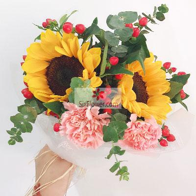 大岗之傲花店2朵向日葵,6朵康乃馨,青春的时光