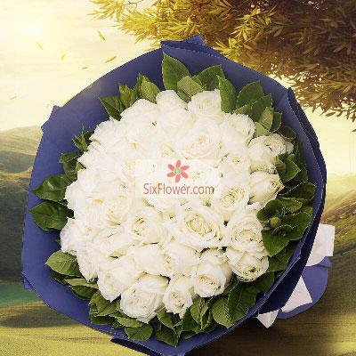 30朵白玫瑰,愿意一生与你在一起大连香朵花艺