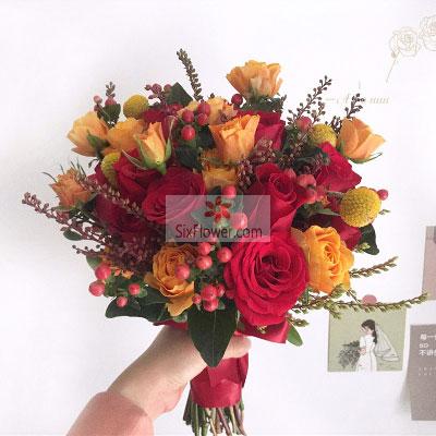 11朵红玫瑰,桔梗黄金球,人生的新篇章丁字沽鲜花店