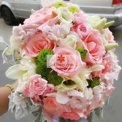 云裳花坊19朵粉玫瑰,手捧花,山盟海誓