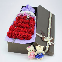 19朵红色康乃馨,笑口常开