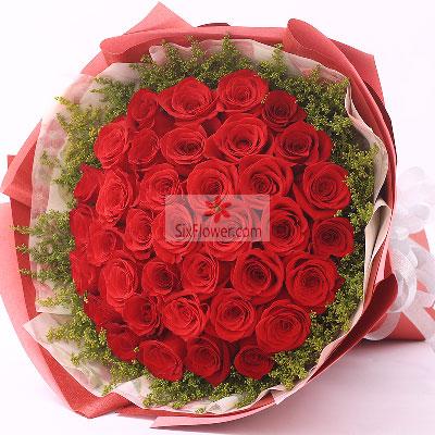 漂亮花坊39朵红玫瑰,我永远和你挚爱在一起