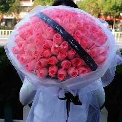 武汉幸子花行99朵戴安娜粉玫瑰,我要与你一起爱得精彩