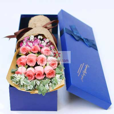 红蔷薇鲜花蛋糕店11朵戴安娜粉色玫瑰,礼盒装,我的爱人愿你一切都好