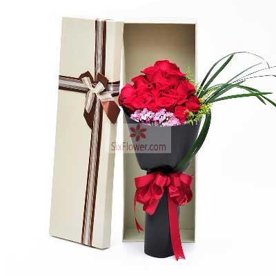 15朵红玫瑰,礼盒装,心为你伤香馨阁花店