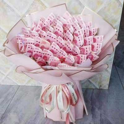 富阳百草园花艺50张100元人民币花束,对你的爱永远不会停息
