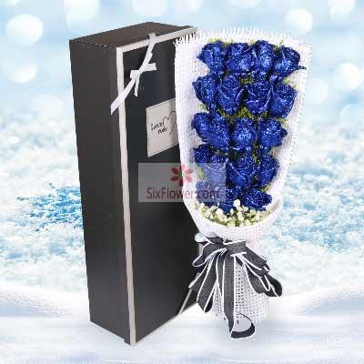 胶南情之源19朵蓝色玫瑰,愿为你遮挡风雨