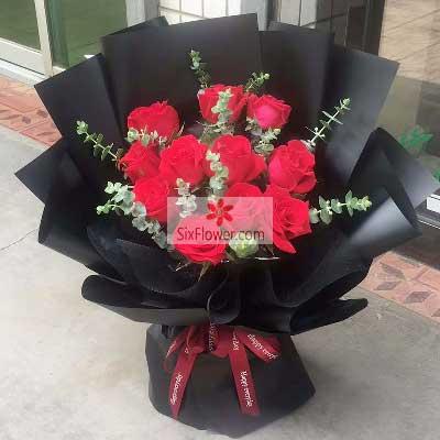 花戒花艺坊11朵红玫瑰,尤加利搭配,一心一意一生不分离