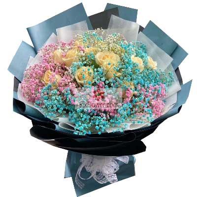 天津百合鲜花店11朵香槟玫瑰,今生唯一爱的就是你