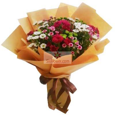 各色小雏菊22支,生活过的比蜜甜天津滨海新区玫瑰鲜花蛋糕